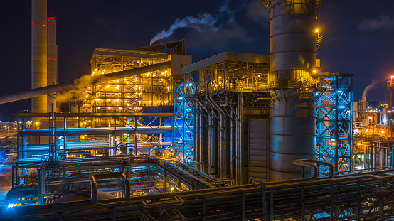Power station, Combined heat power plant at night, Large combined cycle power plant. 1135658489