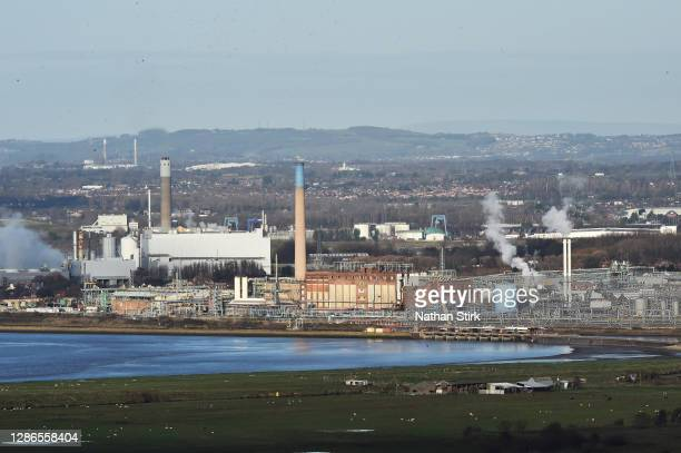 Power Stations are seen from Helsby Hill on November 19, 2020 in Helsby, England. The UK Government released details of its ten point plan for a...