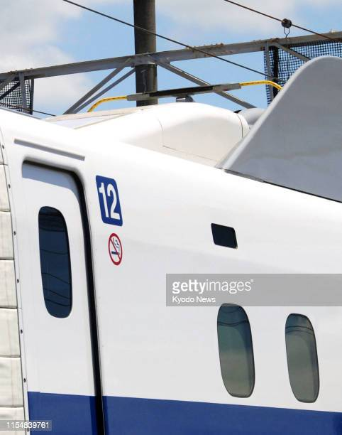 Power supply is cut ahead of a test run of the newly developed N700S shinkansen bullet train fitted with an emergency battery system the first among...