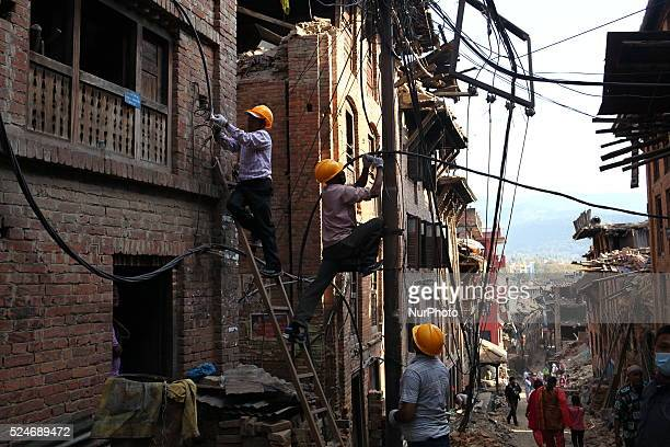 Power supply team members are working to reconnect the power supply of Bhaktapur, Nepal May 5 2015