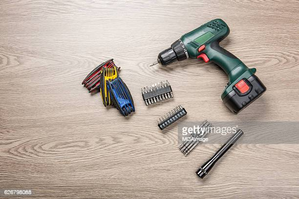 Power Tool on the wood table
