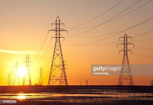power towers - hydroelectric power station stock photos and pictures