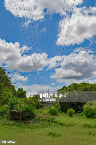 Power transmission lines crossing the green park under clouds and blue sky.