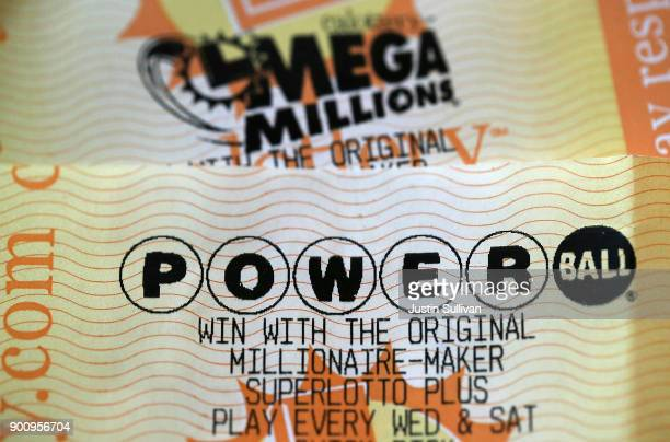 Powerball and Mega Millions lottery tickets are displayed on January 3 2018 in San Anselmo California The Powerball jackpot and Mega Millions...