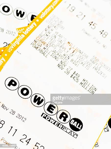 powerball lottery tickets - lottery ticket stock pictures, royalty-free photos & images
