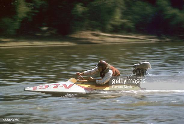 Outboard Motor Championship Verne McQueen prepares for a turn on a Class A hydroplane during a race on the Wabash River Mount Carmel IL CREDIT...