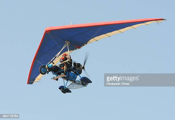 A powered hang glider of the Army microlight expedition team performing during the Air Show Army Microlight expedition 2015 on February 22 2015 in...