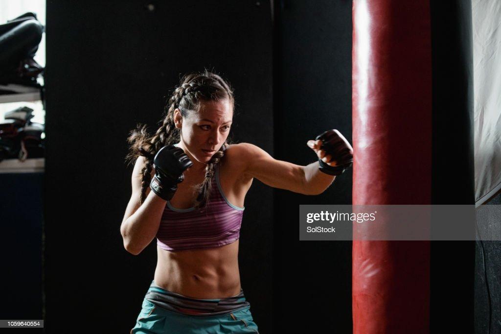 Powerful Female Boxer : Stock Photo