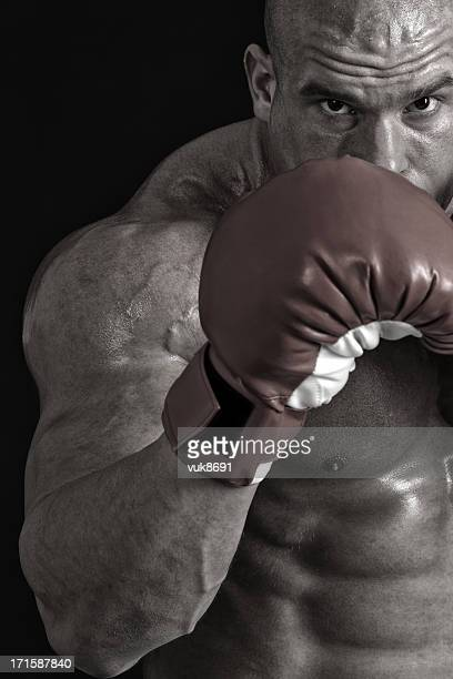 powerful fighter portrait - belly punching stock pictures, royalty-free photos & images