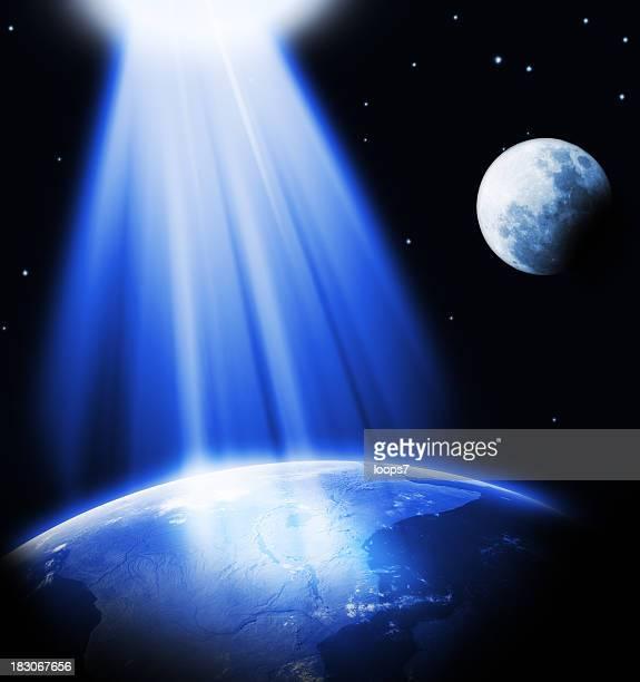 powerful light lighting the Earth