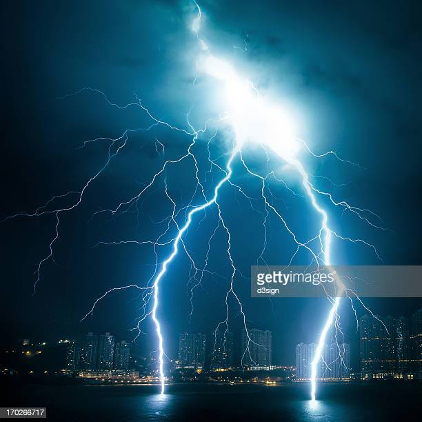 Powerful lightning striking from sky to sea