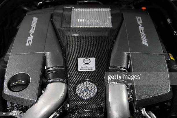 powerful mercedes benz amg biturbo v8 engine - mercedes stock photos and pictures
