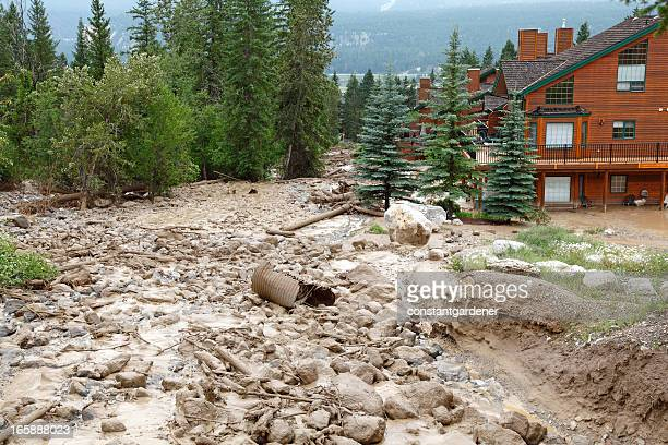 powerful mud slide with rock,boulders and debris - landslide stock pictures, royalty-free photos & images