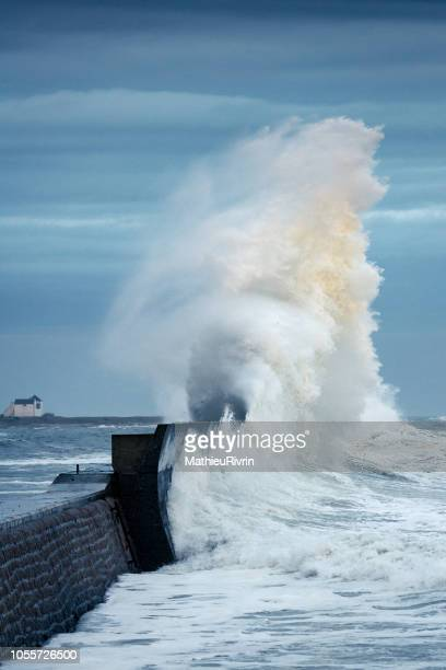 Powerful storm against the coast and the harbor in the South of Brittany
