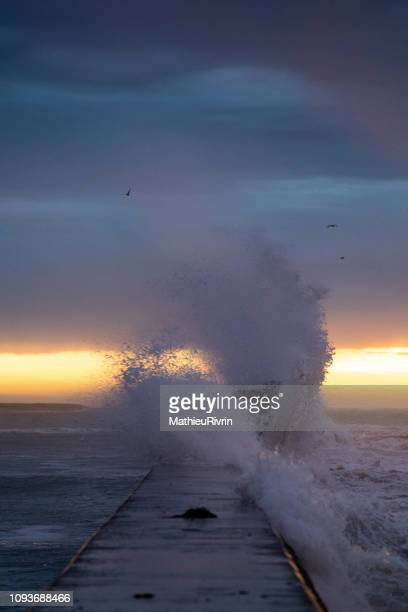 powerful storm against the coast and the harbor - brest brittany stock pictures, royalty-free photos & images