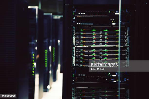 powerful supercomputer working. - servidor de rede - fotografias e filmes do acervo