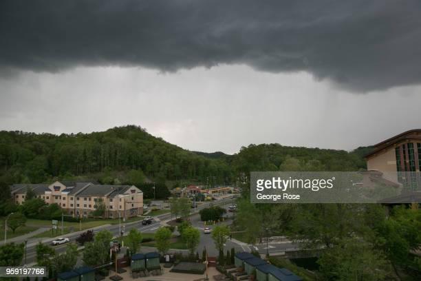 Powerful thunderstorm moves over the Harrah's Cherokee Casino & Resort on May 11, 2018 in Cherokee, North Carolina. Located near the entrance to...
