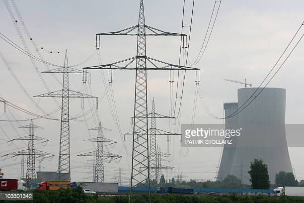 Powerlines can be seen next to the former nuclear power plant Hamm Uentrop on August 9 2010 in Hamm near the western German city of Dortmund The...