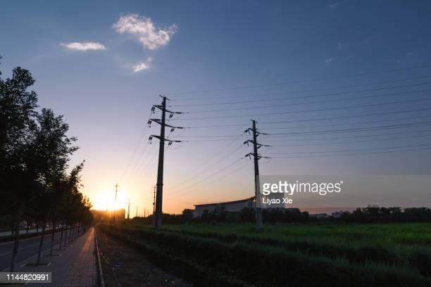 powerlines on the road - liyao xie fotografías e imágenes de stock