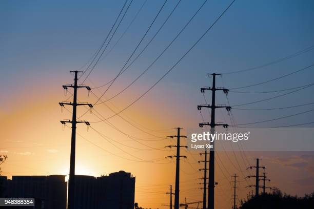 powerlines - liyao xie stock pictures, royalty-free photos & images