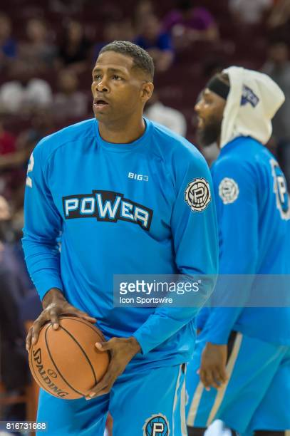 Power's Kendall Gill warms up during a BIG3 Basketball league game on July 16 2017 at Wells Fargo Center in Philadelphia PA