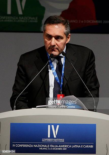 Powertrain CEO Alfredo Altavilla attends the IV National Conference On Italy Latin America And The Caribbean on December 2 2009 in Milan Italy The...