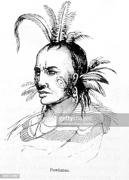 Powhatan Father of Pocahontas Engraving