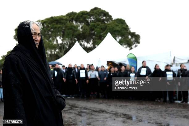 Powhiri is performed to welcome Kiingi Tūheitia to Ihumātao on August 03, 2019 in Auckland, New Zealand. The site near Auckland Airport and the...