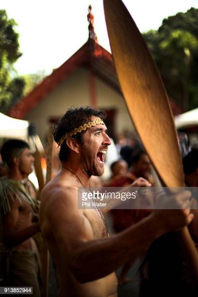 A powhiri takes place in front of Te Whare Runanga on the Waitangi Treaty Grounds to welcome the New Zealand Governor General Dame Patsy Reddy on...