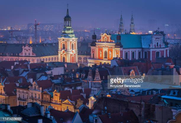 poznan cityscape at dusk - polish culture stock pictures, royalty-free photos & images