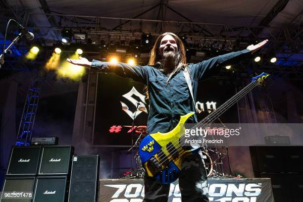 Pär Sundström of Sabaton performs onboard the cruise liner 'Independence of the Seas' during the '70000 Tons of Metal' Heavy Metal Cruise Festival on...