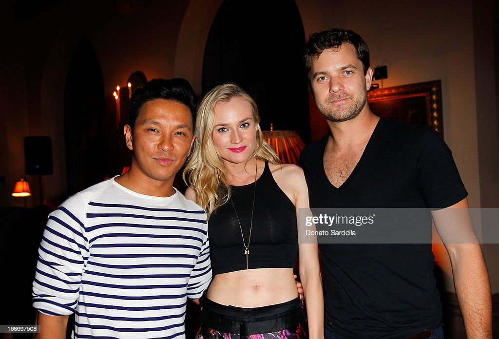 Prabal Gurung, Diane Kruger and Joshua Jackson attend Vogue and MAC Cosmetics dinner hosted by Lisa Love and John Demsey in honor of Prabal Gurung at the Chateau Marmont on Monday, May 13, 2013 in Los Angeles, California.