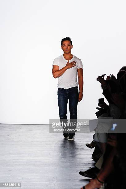 Prabal Gurung greets the audience after presenting the Prabal Gurung Spring 2016 collection during New York Fashion Week The Shows at The Arc...