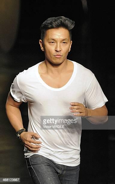 Prabal Gurung walks the runway at the Prabal Gurung Gurung Ready to Wear Fall/Winter 20142015 fashion show during New York Fashion Week on February 8...