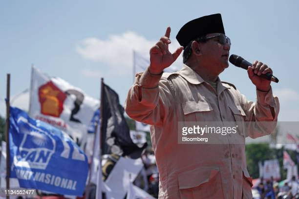 Prabowo Subianto presidential candidate speaks during a campaign rally in Karawang West Java West Java Indonesia on Friday March 29 2019 Prabowo who...