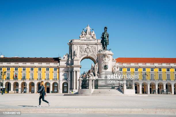 Praca do Comercio, formerly Terreiro do Paco, which is usually full of tourists, practically without people during the state of emergency.The...
