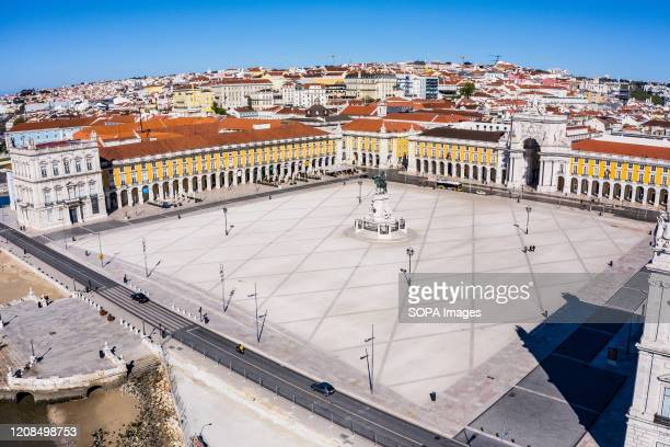 Praca do Comercio formerly Terreiro do Paco which is usually full of tourists practically without people during the state of emergency The Portuguese...
