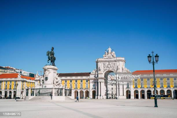 Praca do Comercio formerly Terreiro do Paco which is usually full of tourists practically without people during the state of emergencyThe Portuguese...
