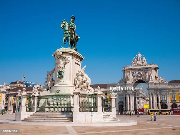 praça do comércio, lisboa, portugal - praça do comércio imagens e fotografias de stock
