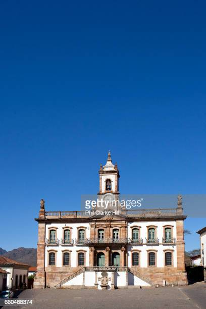 Praca Tiradentes / Tiradentes square. Colourful Colonial buildings in the city centre of Ouro Preto, in the state of Minas Gerais, Brazil. Ouro...