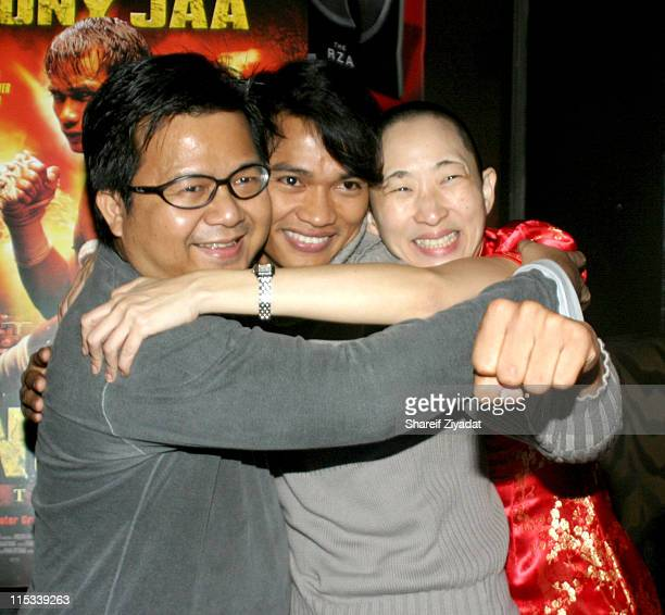Prachya Pinkaew director Tony Jaa and Sophie during 'OngBak' New York City Screening After Party at Lot 61 in New York City New York United States