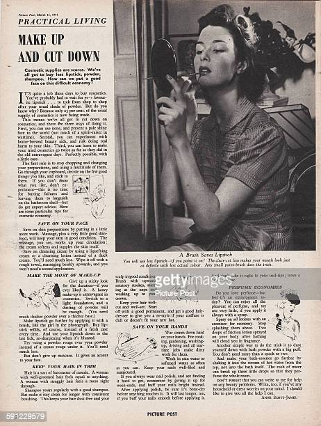A 'Practical Living' feature in the 15th March 1941 edition of Picture Post magazine entitled 'Make Up And Cut Down' The article gives advice on ways...