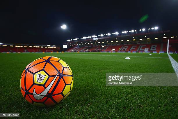 A practice ball is seen prior to the Barclays Premier League match between AFC Bournemouth and Manchester United at Vitality Stadium on December 12...