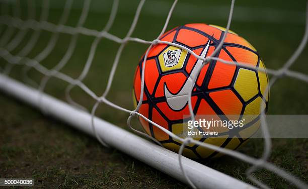 A practice ball is seen prior to the Barclays Premier League match between Swansea City and Leicester City at Liberty Stadium on December 5 2015 in...
