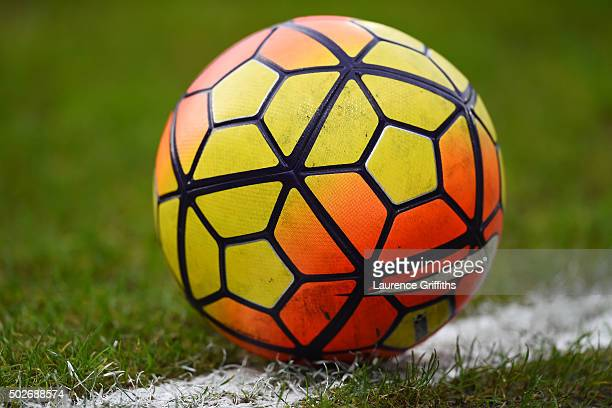 A practice ball is seen prior to the Barclays Premier League match between Watford and Tottenham Hotspur at Vicarage Road on December 28 2015 in...