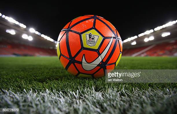 A practice ball is seen prior to the Barclays Premier League match between Southampton and Watford at St Mary's Stadium on January 13 2016 in...