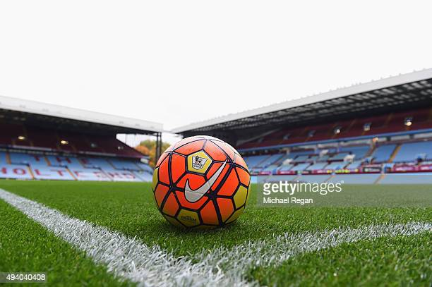 A practice ball sits on the turf prior to the Barclays Premier League match between Aston Villa and Swansea City at Villa Park on October 24 2015 in...