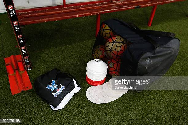 Practice balls and cones are left in the Crystal Palace dug out prior to the Barclays Premier League match between AFC Bournemouth and Crystal Palace...