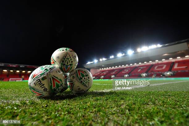 Practice balls are pictured inside the stadium prior to the Carabao Cup QuarterFinal match between Bristol City and Manchester United at Ashton Gate...