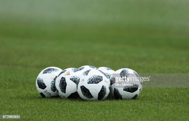 Practice balls are seen during the England media access at Spartak Zelenogorsk Stadium ahead of the FIFA World Cup 2018 on June 13 2018 in Saint...